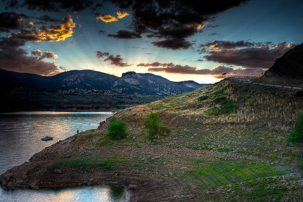 Sunset Art Print featuring the photograph Horsetooth Reservior At Sunset by James O Thompson