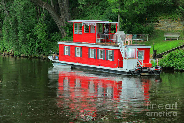 Boat Art Print featuring the photograph Houseboat On The Mississippi River by Teresa Zieba