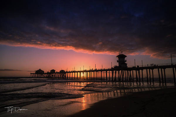 Huntington Art Print featuring the photograph Huntington Pier At Sunset by T A Davies