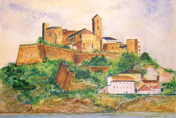 Landscape Art Print featuring the painting Ibiza Old Town Unesco Site by Lizzy Forrester