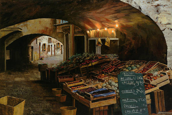 Market Art Print featuring the painting Il Mercato Francese by Guido Borelli