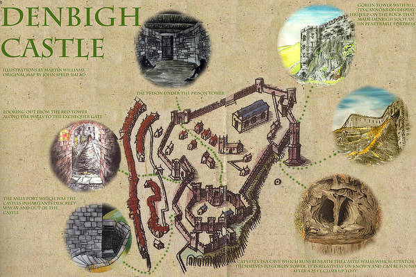 Castle Art Print featuring the painting Illustrated Map Of Denbigh Castle 1611 Ad by Martin Williams