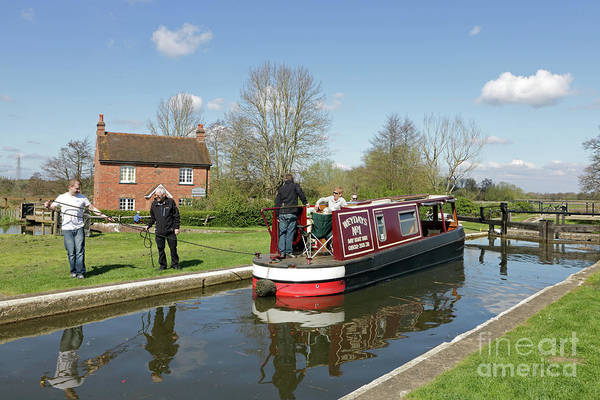 Papercourt Lock On The Wey Navigations Near Ripley Boat Canal England English Boating Art Print featuring the photograph In Papercourt Lock On The Wey Navigations by Julia Gavin