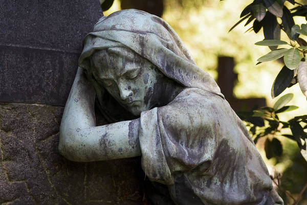 Cemetery Art Print featuring the photograph In The Shadows by Marc Huebner