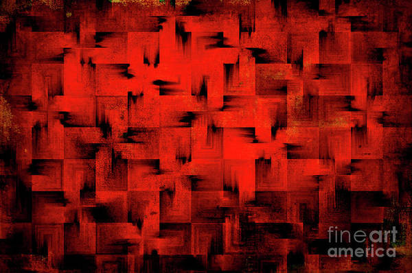 Abstract Print featuring the digital art Inferno by Silvia Ganora