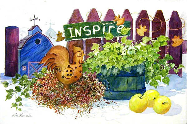 Rooster;barn;apples;ivy;fence;inspiration;country;still Life; Art Print featuring the painting Inspire by Lois Mountz
