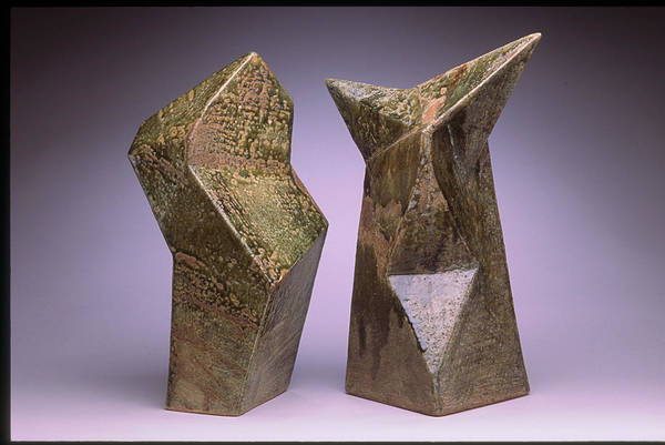 Slab Built Cone 6 Stoneware Art Print featuring the sculpture Interrelated Forms by Stephen Hawks