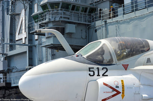 Aircraft Carrier Art Print featuring the photograph Intruder On Deck by Tommy Anderson