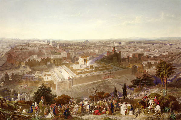 City; Palm Sunday; Entrance; Disciples; Temple; View; Landscape; Palestine Print featuring the painting Jerusalem In Her Grandeur by Henry Courtney Selous