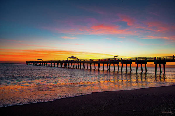 Delray Art Print featuring the photograph Juno Pier Colorful Sunrise by Ken Figurski