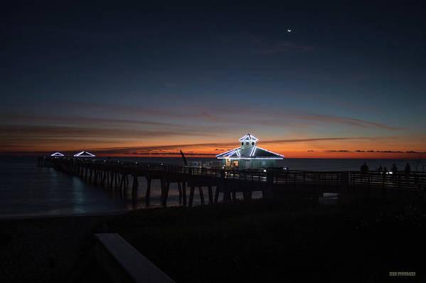 Delray Art Print featuring the photograph Juno Pier Daybreak by Ken Figurski