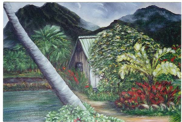 Landscape Art Print featuring the painting Kanaka House by Laura Johnson