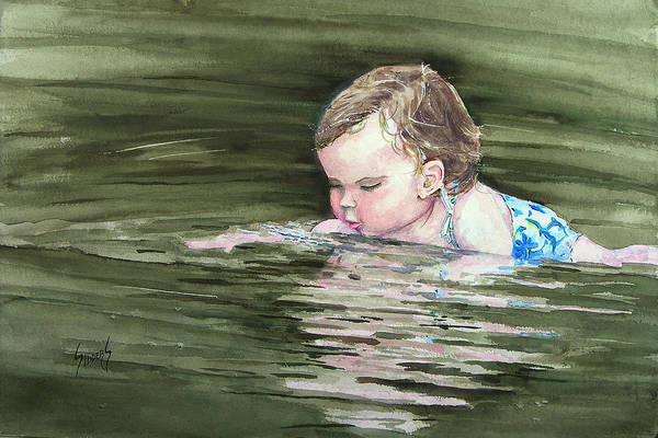 Child In River Art Print featuring the painting Katie Wants A River Rock by Sam Sidders