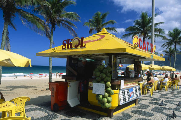 Atlantic Ocean Print featuring the photograph Kiosk On Ipanema Beach by George Oze