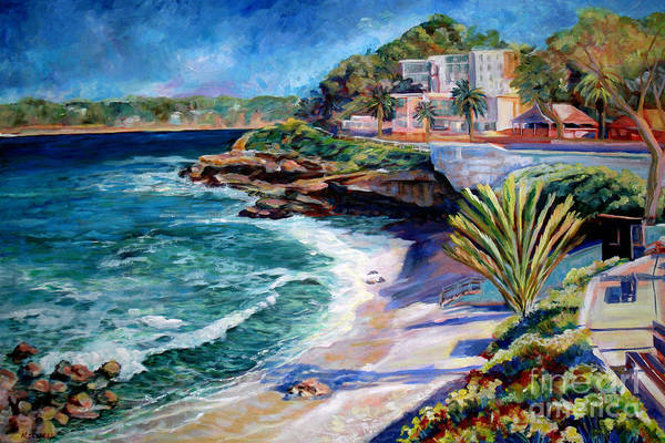 Seascape Art Print featuring the painting La Jolla Cove by Nancy Isbell