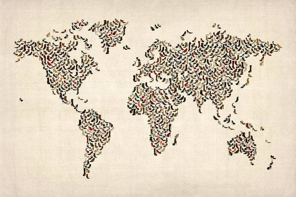 World Map Art Print featuring the digital art Ladies Shoes Map Of The World Map by Michael Tompsett