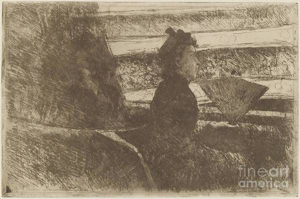Art Print featuring the drawing Lady In Black, In A Loge, Facing Right by Mary Cassatt