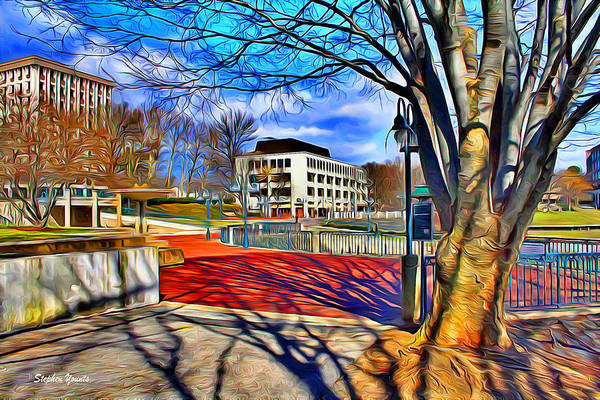 Howard County Art Print featuring the digital art Lake Kittamaqundi Walkway by Stephen Younts