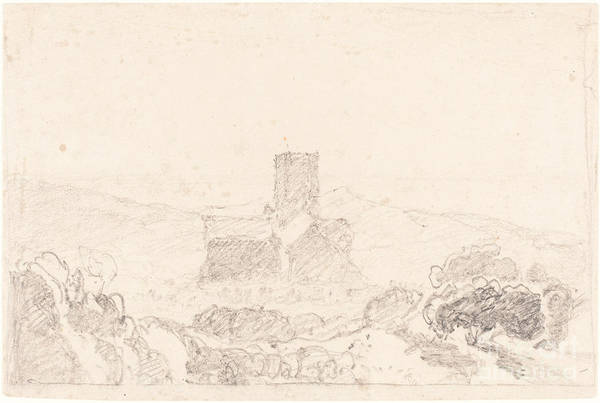 Art Print featuring the drawing Landscape With Church by Follower Of John Sell Cotman