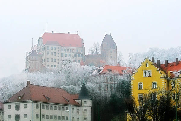 City Art Print featuring the photograph Landshut Bavaria On A Foggy Day by Christine Till