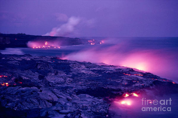 Amaze Print featuring the photograph Lava Flows To The Sea by Mary Van de Ven - Printscapes