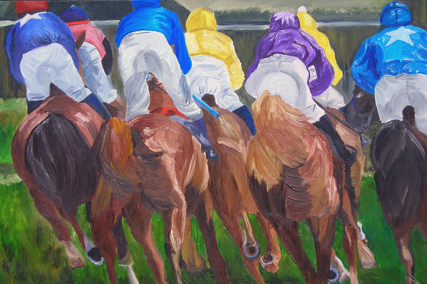 Horse Racing Art Print featuring the painting Leading The Pack by Michael Lee
