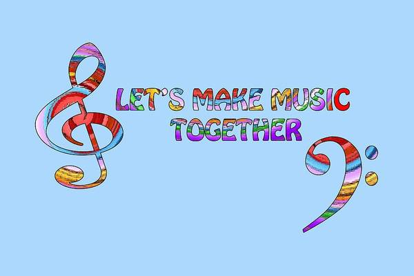 Music Art Print featuring the digital art Let's Make Music - Blue by Gill Billington