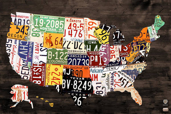 License Plate Map Art Print featuring the mixed media License Plate Map Of The United States - Warm Colors / Black Edition by Design Turnpike