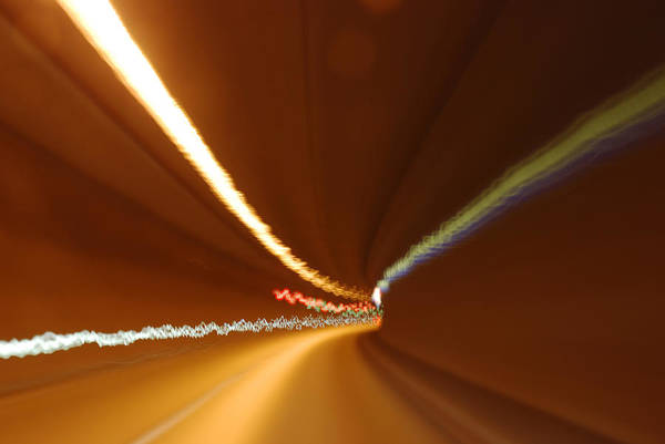 Tunnel Art Print featuring the photograph Light Streaks In Tunnel by Evgeny Ivanov