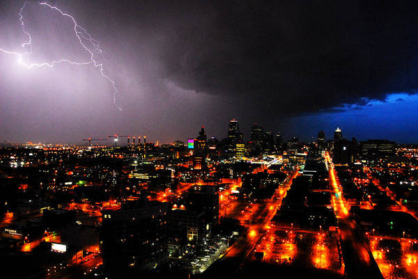 Night Art Print featuring the photograph Lighting Over Kansas City by Steven Crown
