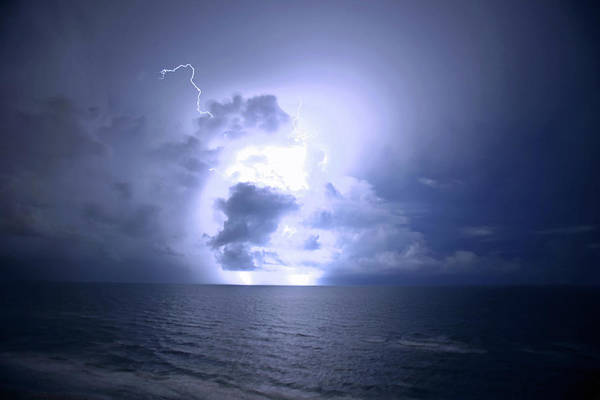 Lightning Art Print featuring the photograph Lightning And Clouds by James Jones