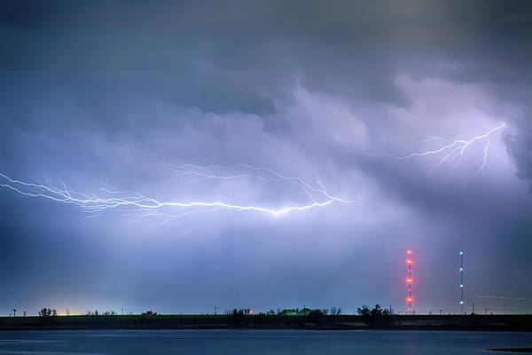 Lightning Art Print featuring the photograph Lightning Bolting Across The Sky by James BO Insogna