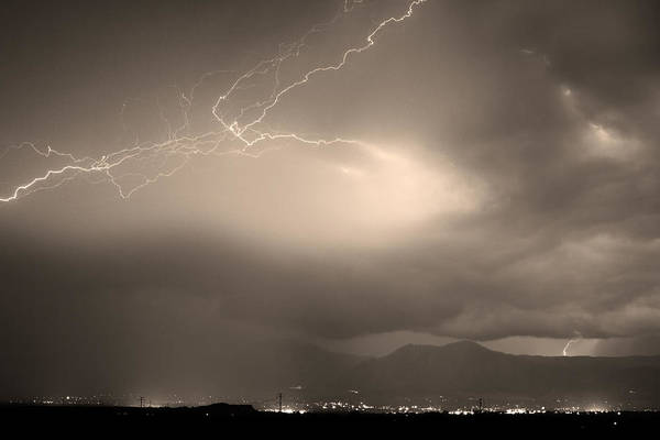 Lightning Art Print featuring the photograph Lightning Strikes Over Boulder Colorado Sepia by James BO Insogna
