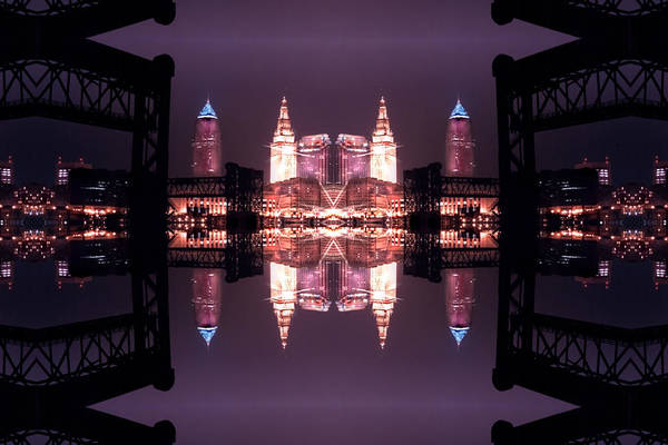 Cleveland Art Print featuring the photograph Lights Buildings And Bridges by Kenneth Krolikowski