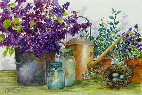 Still Life;lilacs; Ball Jars; Watering Can;bird Nest; Bird Eggs; Art Print featuring the painting Lilacs And Ball Jars by Lois Mountz