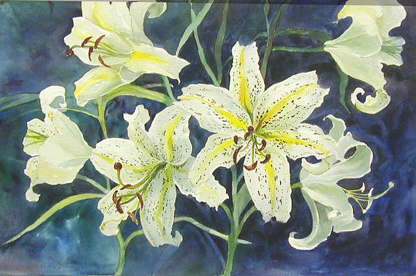 Floral;lilies; Art Print featuring the painting Lilies So White by Lois Mountz