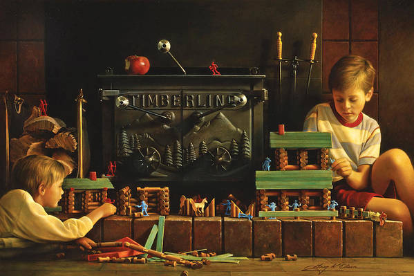 Fireplace Art Print featuring the painting Lincoln Logs by Greg Olsen