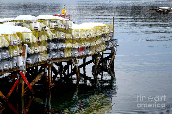 Maine Art Print featuring the photograph Lobster Traps In Winter by Olivier Le Queinec