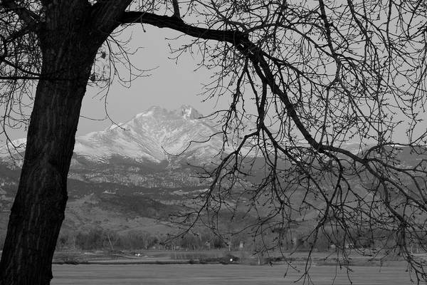 Longs Peak Art Print featuring the photograph Longs Peak And Mt. Meeker The Twin Peaks Black And White Photo I by James BO Insogna