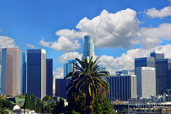 Los Angeles Art Print featuring the photograph Los Angeles And Palm Trees by Mariola Bitner