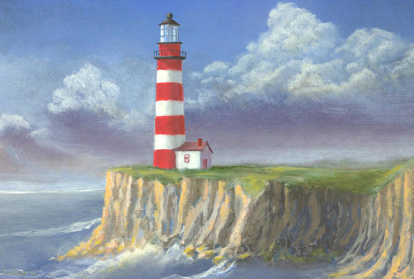 Light Art Print featuring the painting Lost Point Light by Jerry McElroy