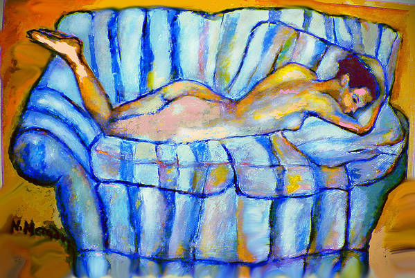 Nude Art Print featuring the painting Love Seat by Noredin Morgan