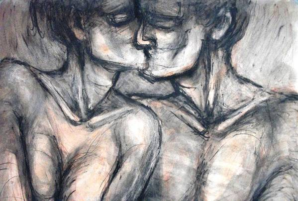 Original Art Print featuring the painting Lovers - Kiss by Carmen Tyrrell