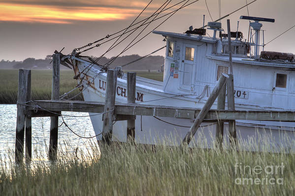 Lowcountry Art Print featuring the photograph Lowcountry Shrimp Boat Sunset by Dustin K Ryan