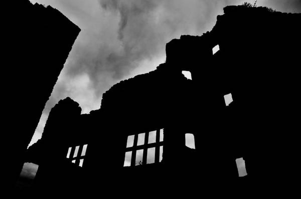 Castle Print featuring the photograph Ludlow Storm Threatening Skies Over The Ruins Of A Castle Spooky Halloween by Andy Smy