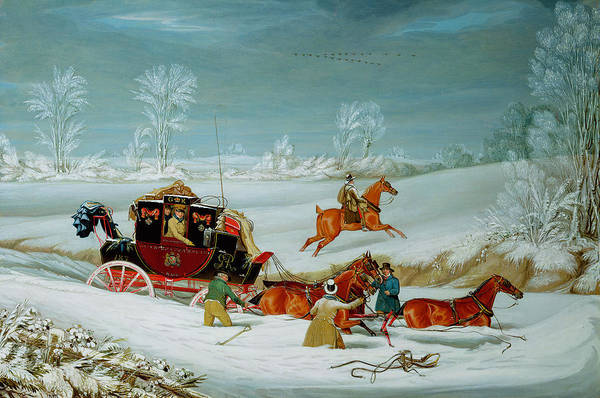 Mail Art Print featuring the painting Mail Coach In The Snow by John Pollard