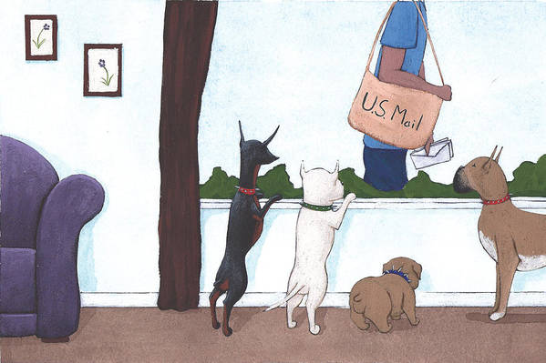Dogs Art Print featuring the painting Mailman by Christy Beckwith