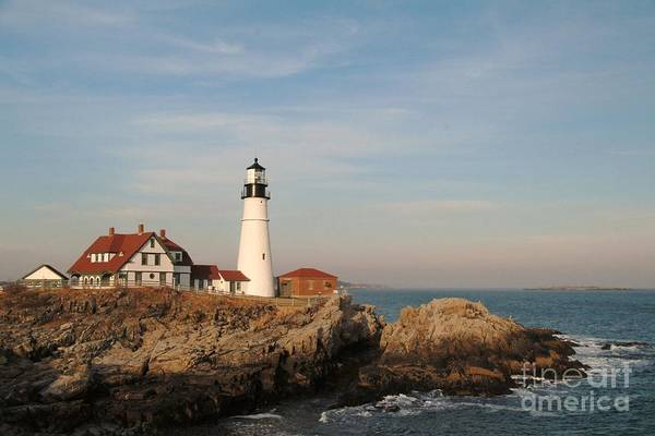 Maine Art Print featuring the photograph Maine Lighthouse by Alberta Brown Buller