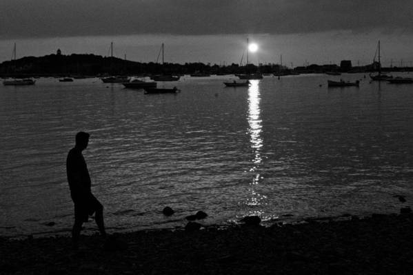 Black And White Art Print featuring the photograph Man At Sunset by Gene Sizemore