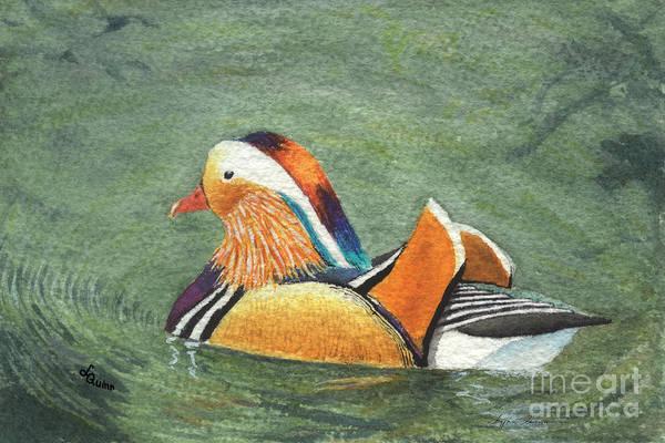 Duck Art Print featuring the painting Mandarin Duck by Lynn Quinn